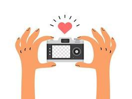 mãos segurando uma câmera com modelo de tela em branco