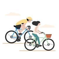 homem e mulher andando de bicicleta juntos