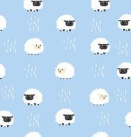 fundo de patterm sem costura ovelha branca e negra vetor