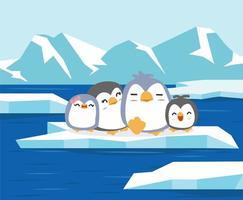 pólo norte com família de pinguins