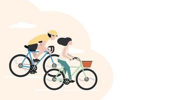 banner homem e mulher andando de bicicleta vetor