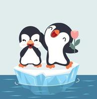 casal de pinguins fofos em vetor de bloco de gelo