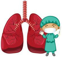 pulmões com um médico usando máscara de personagem de desenho animado vetor