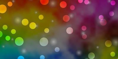 textura leve vetor multicolor com círculos, estrelas.