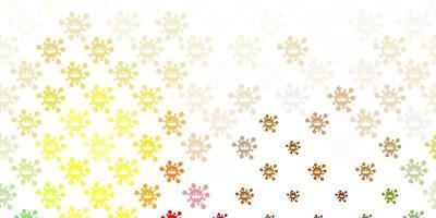 textura de vetor verde claro e amarelo com símbolos de doenças