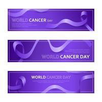 conjunto de banner do dia mundial do câncer vetor