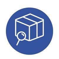 caixa com lupa entrega estilo bloco de serviço
