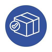 caixa com símbolo de seleção estilo de bloco de serviço de entrega