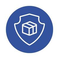 escudo com estilo de bloco de serviço de entrega de caixa