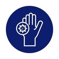 lavagem das mãos com ícone de bloco de partículas covid19 vetor
