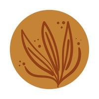 ramo com folhas estilo desenhado à mão boho