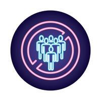 evite as multidões covid19 vírus estilo neon