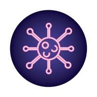 estilo néon de partícula de vírus covid19