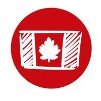 ícone de estilo de bloco de bandeira canadense vetor
