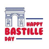 letras bastille day com arco do triunfo desenho à mão vetor