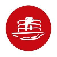 Panquecas com ícone de bloco de mel de bordo vetor