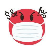 emoji irritado usando máscara médica estilo desenho mão