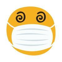 emoji louco usando máscara médica estilo desenho