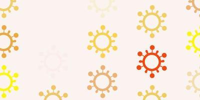 rosa claro, padrão de vetor amarelo com elementos de coronavírus.