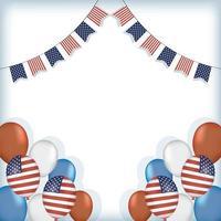 balões dos EUA com desenho de vetor de flâmula de banner