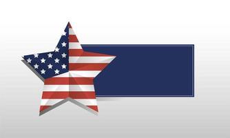 estrela dos EUA com desenho vetorial de moldura azul