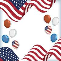 desenho de vetores de balões e bandeiras dos EUA
