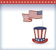 bandeira dos EUA e desenho vetorial de chapéu