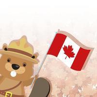 castor canadense com chapéu e bandeira do Canadá vetor