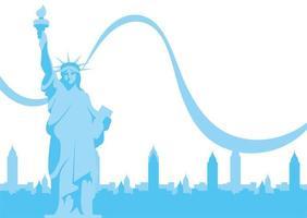 estátua da liberdade dos eua em frente ao desenho vetorial de edifícios da cidade