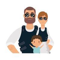 mãe, pai e filho com design de vetor de jaquetas à prova de balas