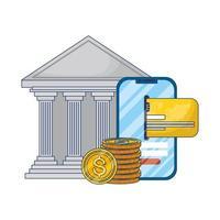 comércio eletrônico online com smartphone e edifício bancário vetor