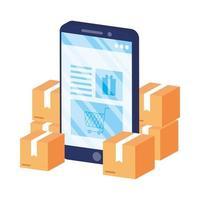 comércio eletrônico online com smartphone e caixas vetor