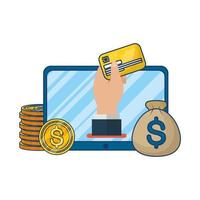 comércio eletrônico online no tablet com moedas e cartão de crédito vetor