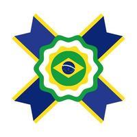 ícone de estilo simples de carimbo do selo da bandeira do brasil vetor