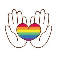 mãos levantando coração com listras de orgulho gay