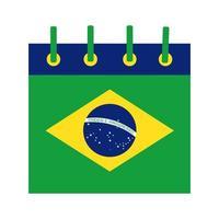 ícone de estilo simples do calendário da bandeira do brasil vetor