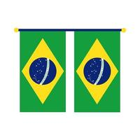 bandeiras do brasil penduradas ícone de estilo plano vetor