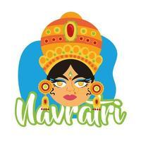 feliz celebração navratri com a deusa amba estilo simples vetor