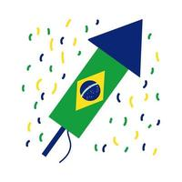 bandeira do brasil no ícone de estilo plano de foguete vetor