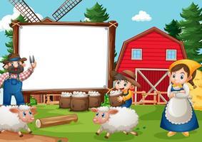 banner em branco em cena de fazenda com família feliz vetor