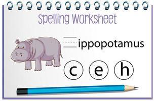 encontrar a letra perdida com hipopótamo vetor