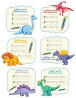 conjunto de palavras de soletração planilha de prática de escrita à mão de dinossauro vetor