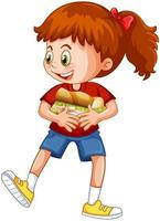 uma garota segurando um personagem de desenho animado de comida isolado no fundo branco vetor