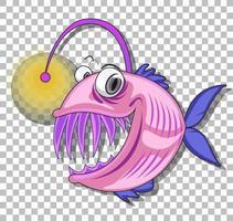 personagem de desenho animado de peixe pescador vetor