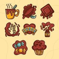 conjunto de chocolate saboroso derretendo vetor