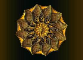desenho de mandala de arabescos ornamentais dourados, florais e abstratos vetor