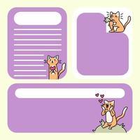 bloco de notas bonitos designs de gatos para fazer anotações diárias vetor