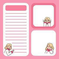 bloco de notas linda garota projeta de volta às aulas para fazer anotações diárias vetor