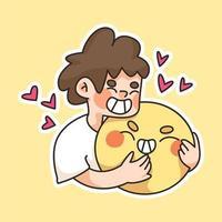 menino abraçando um grande rosto feliz emoji ilustração fofa dos desenhos animados vetor