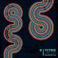 fundo de textura grunge retrô com linhas vintage coloridas vetor
